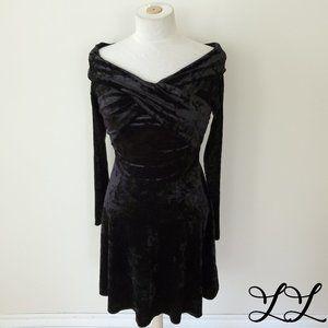 NWOT Chelsea28 Dress Black Velvet Wide Neck Knee